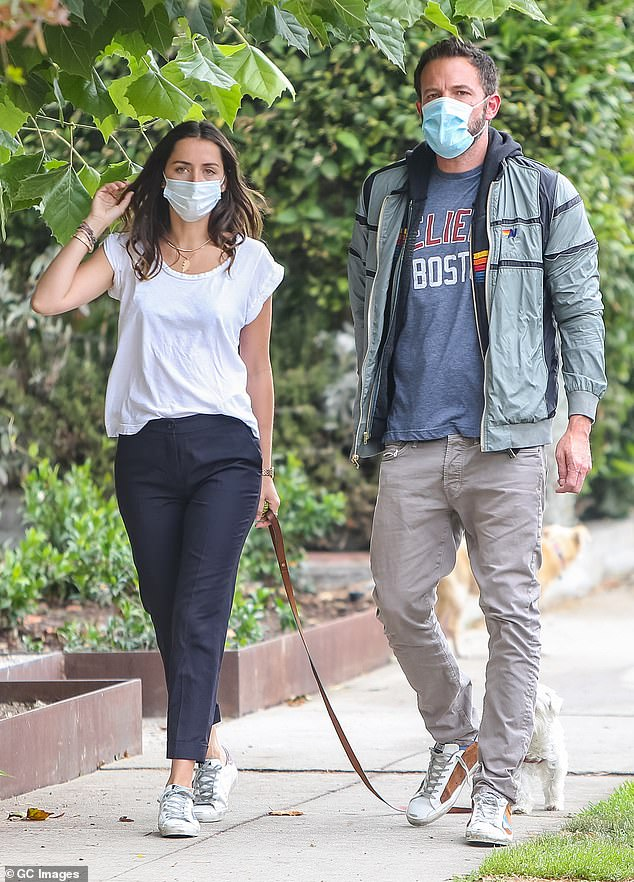 'Ben is no longer dating Ana,' a source told People . 'She broke it off. Their relationship was complicated. Ana doesn't want to be Los Angeles based and Ben obviously has to since his kids live in Los Angeles.' The couple are seen here in July 2020