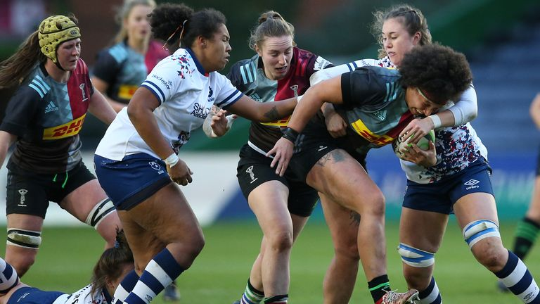 Shaunagh Brown of Harlequins Women takes on the Bristol Bears defence