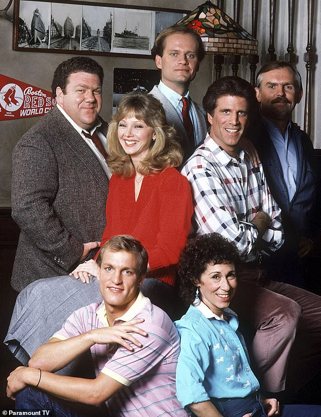 Spin-off: Grammer famously originated the character as a married shrink living in Boston on nine seasons of the classic NBC sitcom Cheers (pictured in 1987)
